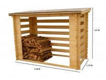 Le plus économique votre abri range-bûches fermé et esthétique avec structure madriers,grand volume 4 stères