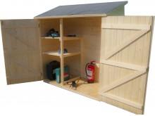 TOP DES VENTES votre abri mural bois 1m2 massif de rangement grand volume avec étagère, couverture bitumé