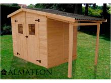 votre Abri Panneau bois massif avec plancher et bûcher de 5,04 m2
