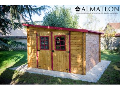 Baisse des prix abri madriers de 9,94m2 en bois massif avec toit mono pente multidirectionnel