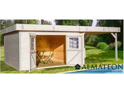 abri madriers en bois massif de surface totale 29 04m2. Black Bedroom Furniture Sets. Home Design Ideas