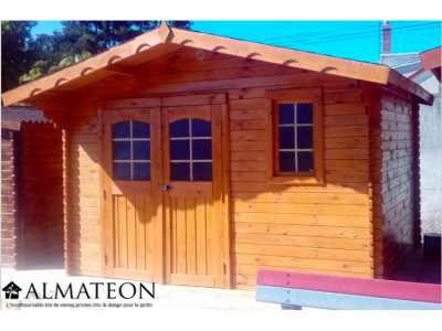 Abri madriers (28mm) bois massif de 13,21m2 toit double pente