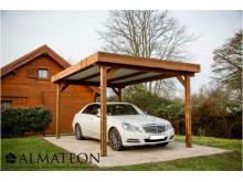 Promotion lancement WEB -150€ votre carport THONES 13,92m2 en bois thermo chauffé toit plat couvertures en bac acier