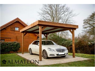 Carport THONES 13,92m2 en bois thermo chauffé toit plat couvertures en bac acier