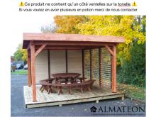 Auvent OMBRA toit plat couverture bac acier de 12,53 m2 avec 1 côté ventelles mobiles