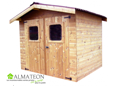 votre Abri madriers THERMABRI (28mm) de 7,81m2 toit double pente avec bois traité (thermo chauffé)