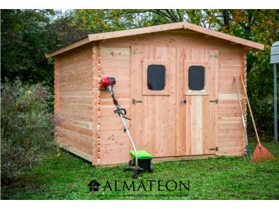 Abri madriers DOMMAR (28mm) de 10,98m2 toit double pente avec bois naturellement durable (Fabriqué en France)