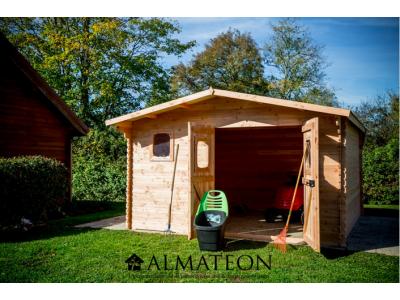 Abri madriers DOMMAR (28mm) de 14,07m2 toit double pente avec bois naturellement durable (Fabriqué en France)