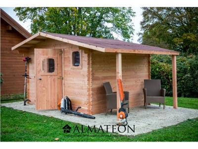 Abri madriers DOMMAR (28mm) de 17,20m2 avec bûcher toit double pente avec bois naturellement durable (Fabriqué en France)