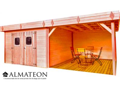 Nouveau votre abri de 20,64m2 DINAN madriers avec terrasse fabriqué en douglas 28mm
