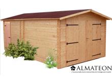 Arrivage votre Garage madriers DENIS (28mm) de 20,98m2 toit double pente avec bois naturellement durable (Fabriqué en France)