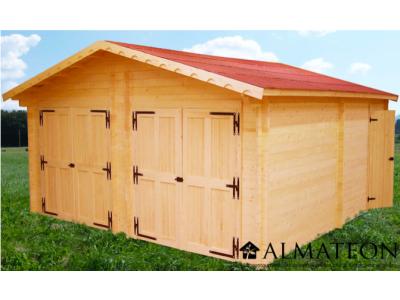 votre Garage double porte avec Madriers bois massif de 60mm et de surface extérieure : 42,16 m2