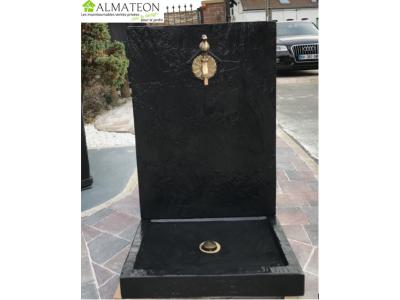 NOUVEAU votre fontaine luxe coloris noir vernis ALMATEON chic & design à personnaliser avec nos robinets et bonde d'évacuation.
