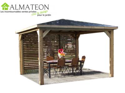 NOUVEAUTE votre pool House bluetherm structure en bois, 1 paroi avec ventelles mobiles et toit en panneaux ACP 14,36m2