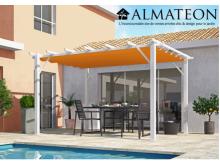 NOUVEAU votre pergola 12 m2 en 100% aluminium coloris blanc poteaux toile 140 grs / m2 couleur rouille