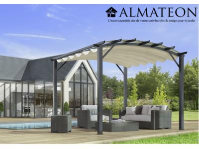 Vente flash printemps votre pergola arche de 11,22 m2 structure mixte aluminium/acier coloris gris anthracite avec toile écru