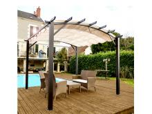 NOUVEAU votre pergola arche de 11,22 m2 structure mixte aluminium/acier coloris gris anthracite avec toile couleur écru 140 gr/m