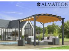 NOUVEAU votre pergola arche de 11,22 m2 structure mixte aluminium/acier coloris gris anthracite toile couleur rouille 140 gr/m2