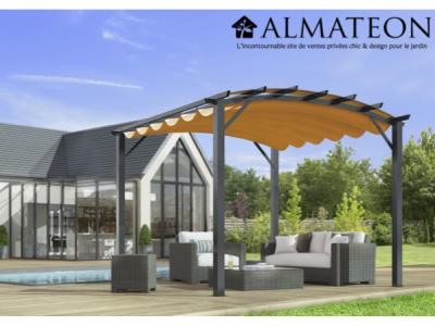 Vente flash printemps votre pergola arche de 11,22 m2 structure mixte aluminium/acier coloris gris anthracite toile rouille 140