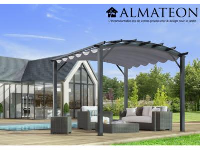 Vente flash printemps votre pergola arche de 11,22 m2 avec structure mixte aluminium/acier coloris gris anthracite toile couleur