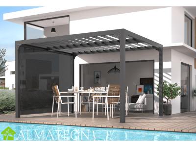 Pergola de 10,80 m2 bioclimatique en ALUMINIUM ouverture manuelle avec rideau manuel gris pour côté de 3 m