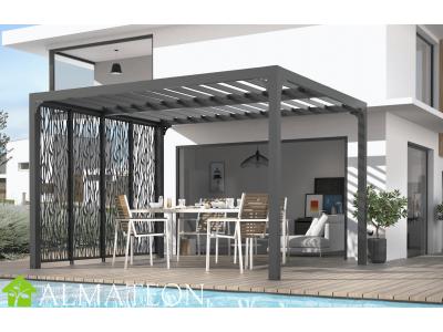 Pergola bioclimatique 10,80 m2 en ALUMINIUM avec 4 panneaux moucharabieh coloris gris pour côté 3 m