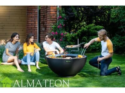 Brasero Barbecue Plancha BOULE en acier avec grille, broche et bras inclus, coloris noir FEU DU JARDIN