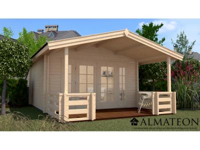 Abri de jardin de 19 m2, avec avant-toit de 200 cm et terrasse de 200 cm, taille 1