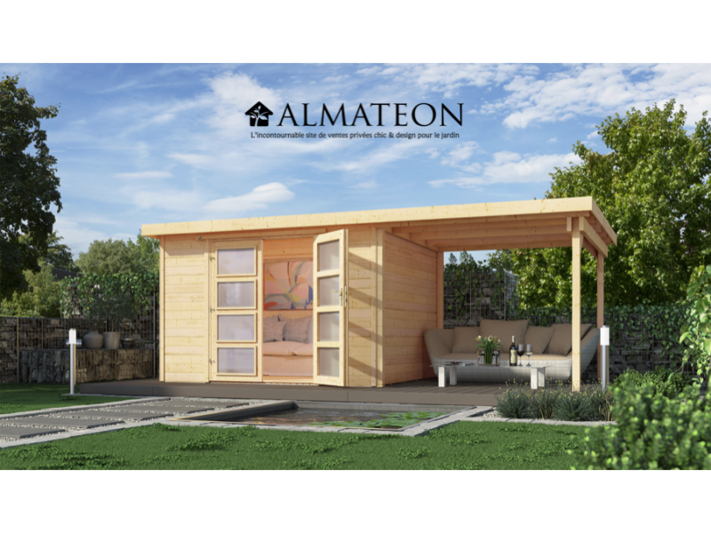 Abri de jardin de 8 3 m2 avec extension de 242 cm brut taille 1 almateon - Abri de jardin avec extension ...