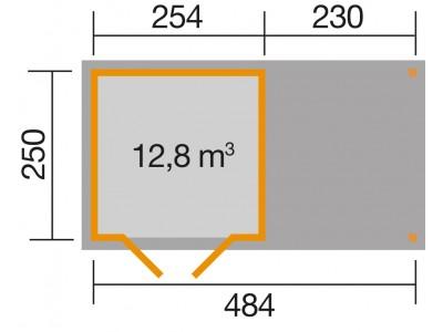 Abri de jardin de 12 m2 avec extension de 242 cm brut taille 3 almateon - Abri de jardin avec extension ...