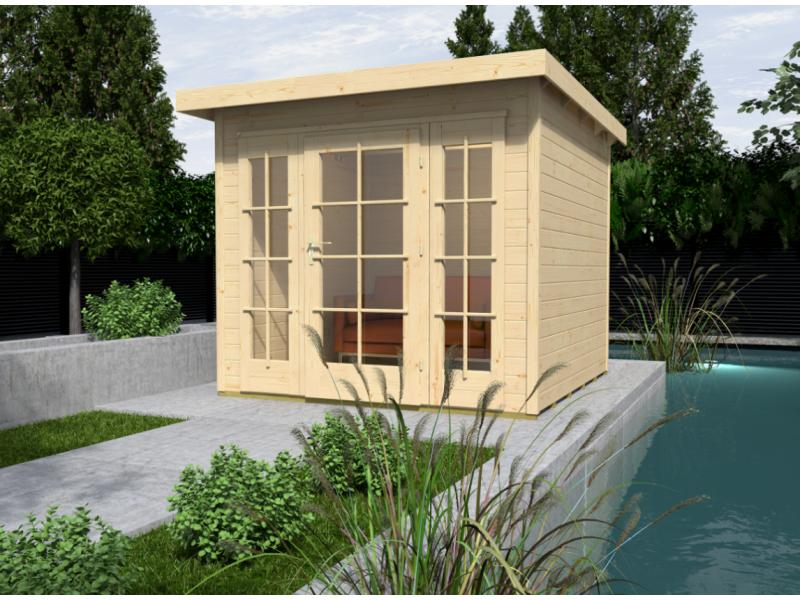 Abri de jardin de 12 m2 avec extension de 312 cm de large brut taille 1 almateon - Abri de jardin avec extension ...