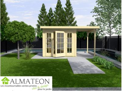 Abri de jardin de 17 m2 avec extension de 312 cm de large brut taille 2 almateon - Abri de jardin avec extension ...