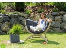 Fauteuil ou canapé en bois pour jardin Siena Uno AMAZONAS vendu avec support et matelas, coloris Anthracite