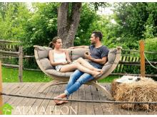 Fauteuil ou canapé en bois de jardin Siena Due AMAZONAS vendu avec support et matelas, coloris Taupe