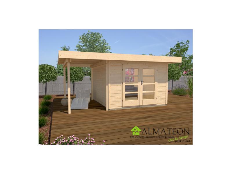 Abri de jardin design et confort de 10m2 avec extension 175cm brut taille 1 almateon - Abri de jardin avec extension ...