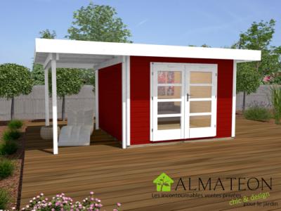 Abri de jardin design et confort de 10m2 avec extension 175cm rouge taille 1 almateon - Abri de jardin avec extension ...