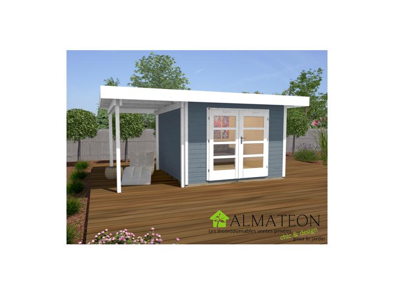Abri de jardin design et confort de 10m2 avec extension 175cm gris taille 1 almateon - Abri de jardin avec extension ...