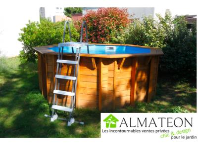 Vente flash été piscine octogonale en pin Sunwater 360, 4,10 x 4,10 m H 120 cm, liner coloris bleu adriatique