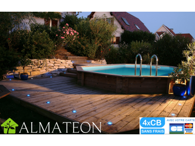 Nouveauté PISCINE en bois UBBINK octogonale allongée SUNWATER 300 x 490 cm, hauteur de 120 cm, liner coloris bleu adriatique