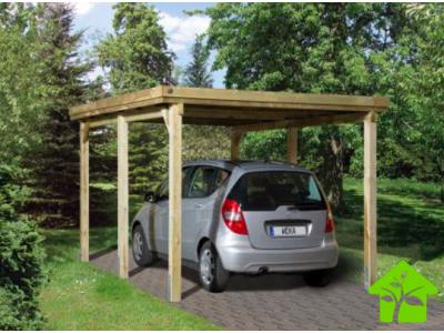 Carport simple de 11,7 m2 pour voiture avec couverture de toit plat en PVC, taille 1