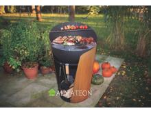 Nouveau votre barbecue avec grill & plancha CRAMBE grand format L coloris rouille acier corten et acier noir of Huugy be Huugy
