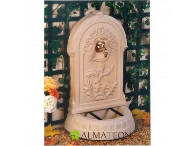 Fontaine décorative en pierre reconstituée motif printanier robinet en laiton