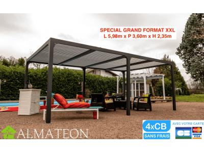 Pergola XXL bioclimatique ALUMINIUM coloris gris anthracite d'une surface de protection de 21,52 m2 toit lame ovales vis inox