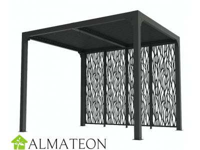 Pergola bioclimatique 7,20 m2 ALUMINIUM balcon et terrasse gris anthracite avec 4 panneaux moucharabieh