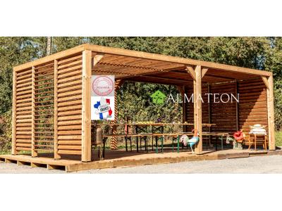 Nouveau série limitée votre pergola 20,94 m2 en bois massif traité haute température et livré avec ventelles mobiles