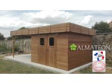 Nouveau votre abri madriers 11,26 M2 connexion angulaire en bois massif traité haute température avec toit plat en bac acier