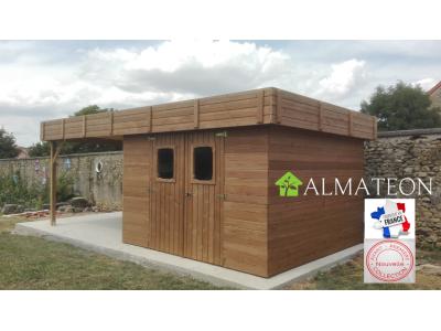 Abri madriers jardin en bois de 20,53 m2 THT avec extension, toit plat avec bac acier galvanisé, Ep 19 mm avec kit soubassement