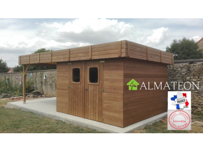 Vente flash printemps votre abri madriers 11,26 M2 connexion angulaire en bois massif traité haute température avec toit plat en