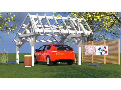 Nouveau carport voiture 19,70m2 double pente asymétrique pour couverture tuile avec 4 poteaux