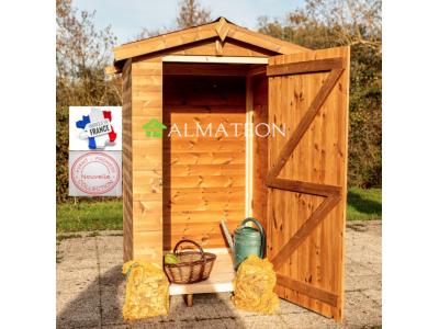 NOUVEAU votre abri en bois 1,96m2 massif traité haute température avec plancher et panneaux 19 mm.Toit double pente en plaques